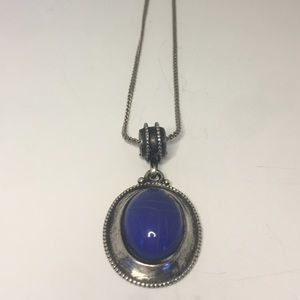Jewelry - Dark Blue Opal Necklace With Silver Chain